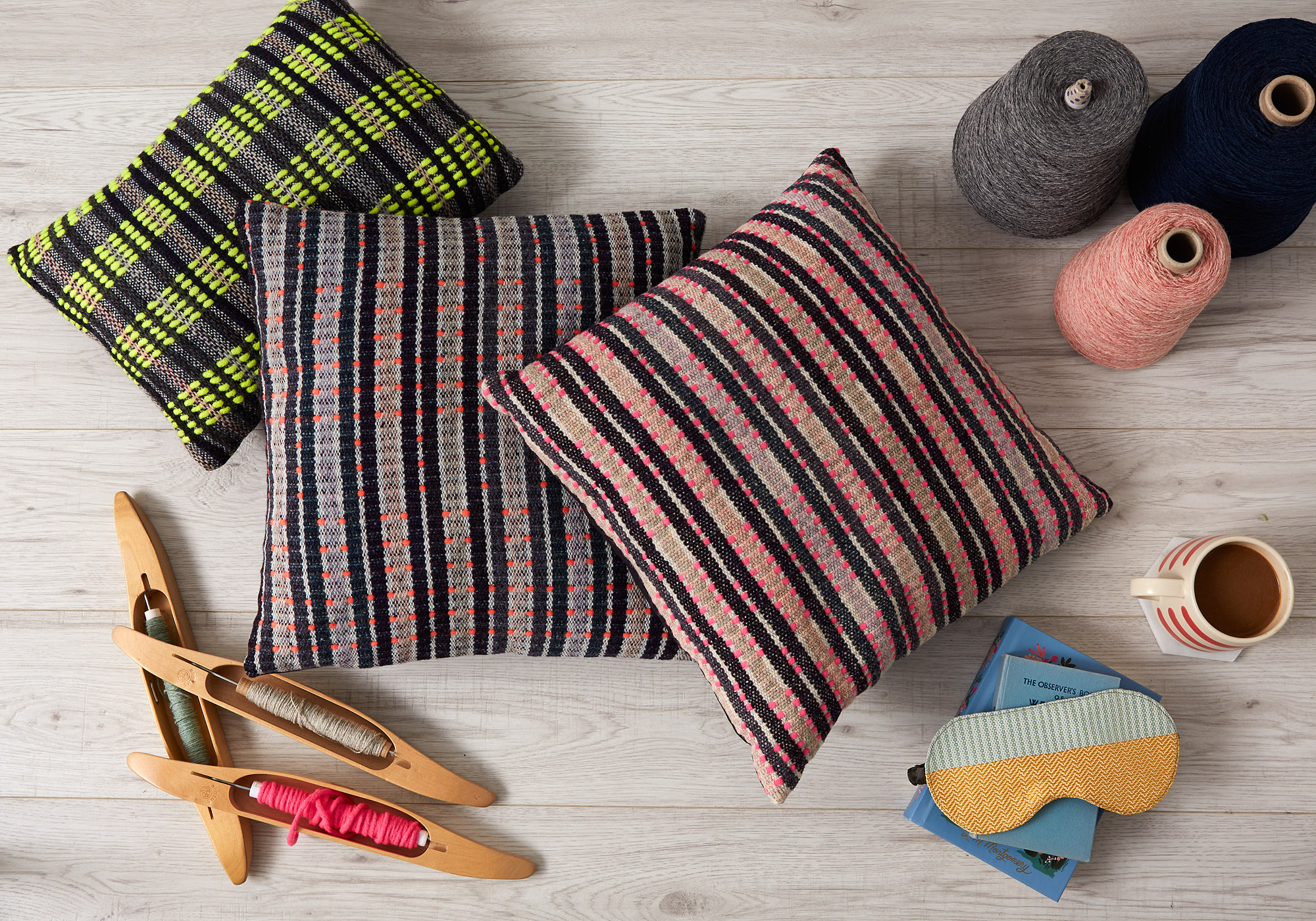 Hand woven festival inspired cushions to brighten up the Winter days.