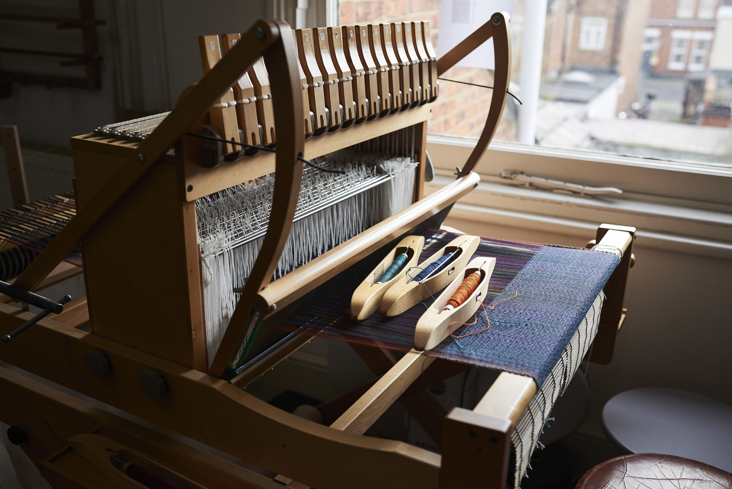 By Cecil hand loom in her North London studio