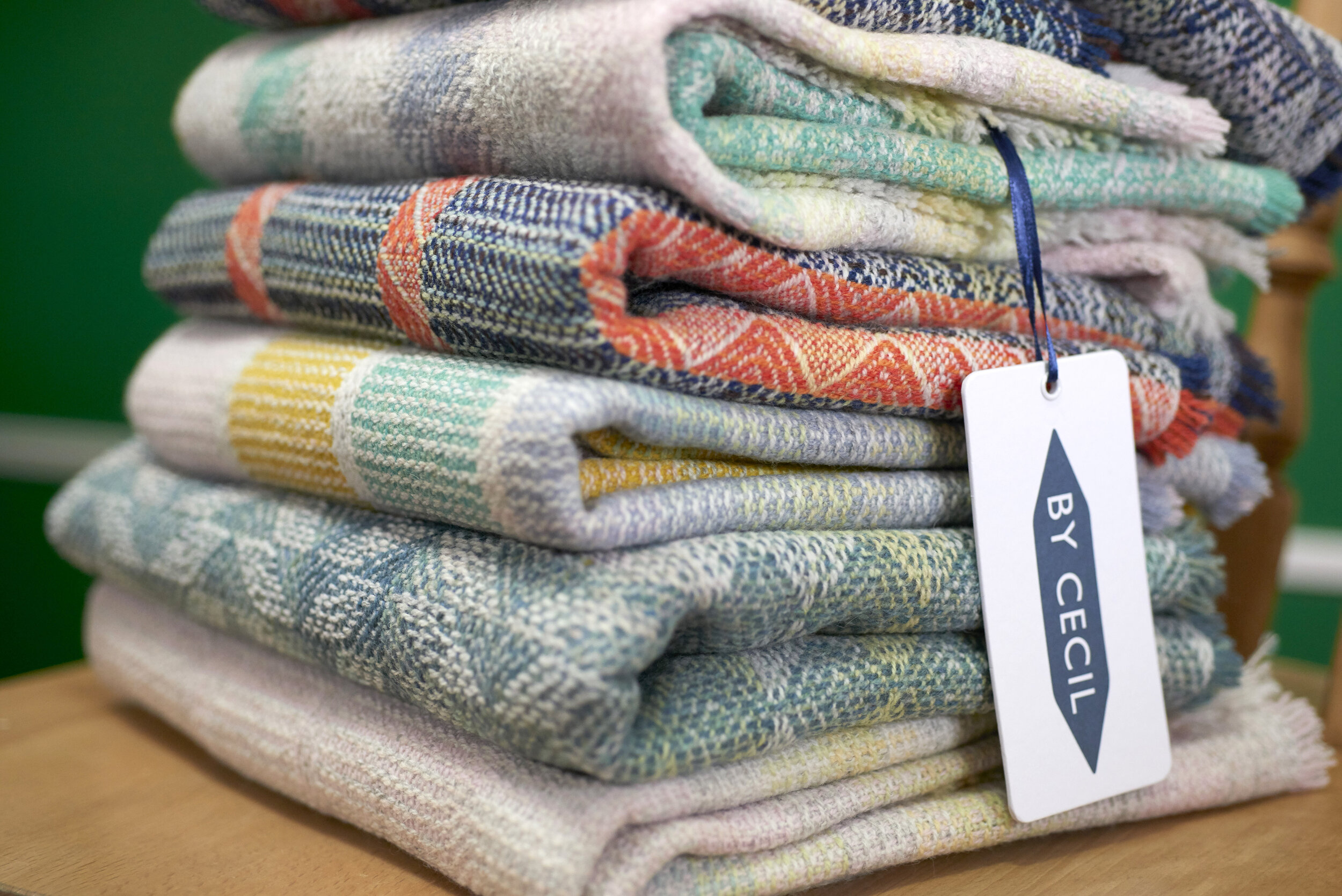Stack of By Cecil oversized merino wool scarves