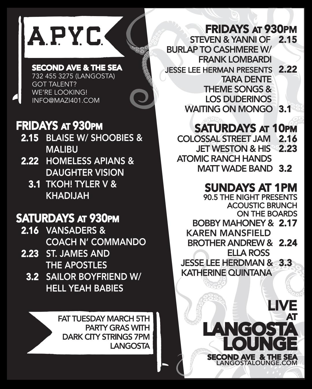 APYC Live Music Schedule 2/15- 3/3