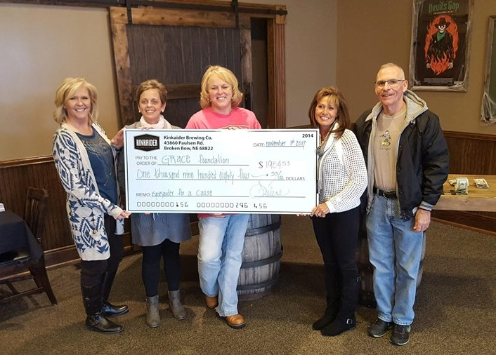 """Thank you, Kinkaider Brewing! - Kinkaider Brewing of Grand Island donated $.50 from every beer sold during """"Kinkaider for a Cause"""" in October 2017 back to GRACE for a total of $1,984.53!"""