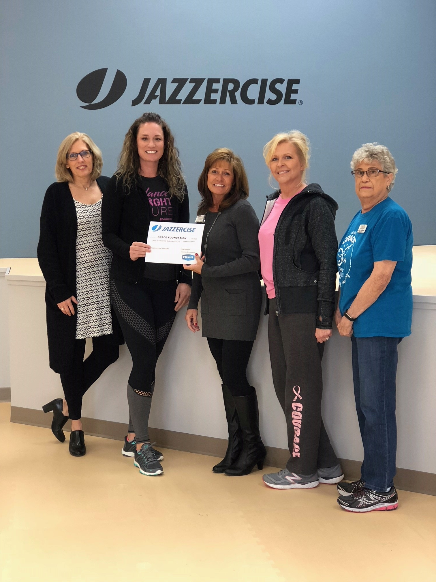 Thanks, GI Jazzercise! - Grand Island Jazzercise raised $750 for the GRACE Foundation during October 2017 from their members!