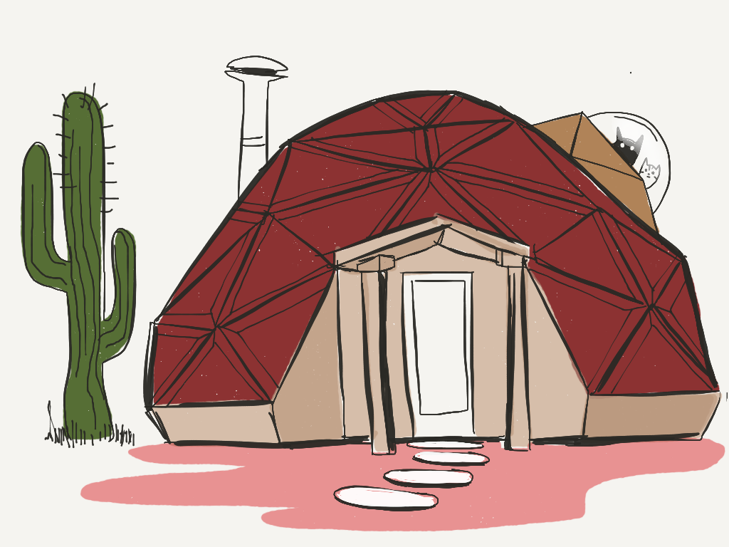 Geodesic Dome Home -  tiny living illustration for Favourite Human blog