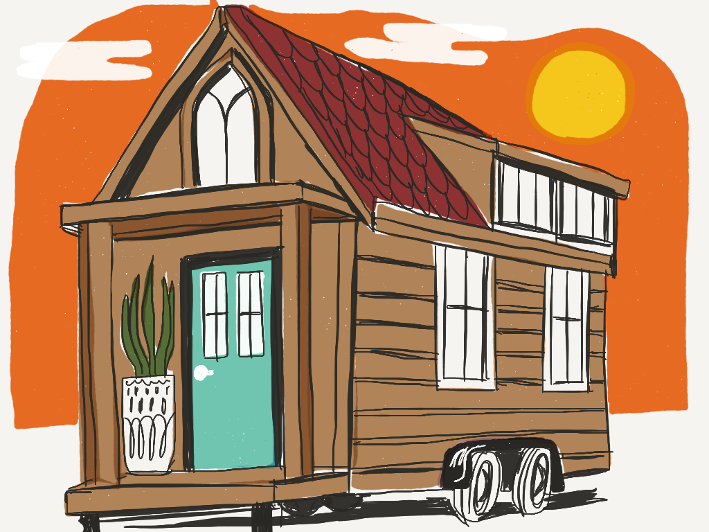 Classic Tiny House on Wheels -  tiny living illustration for Favourite Human blog