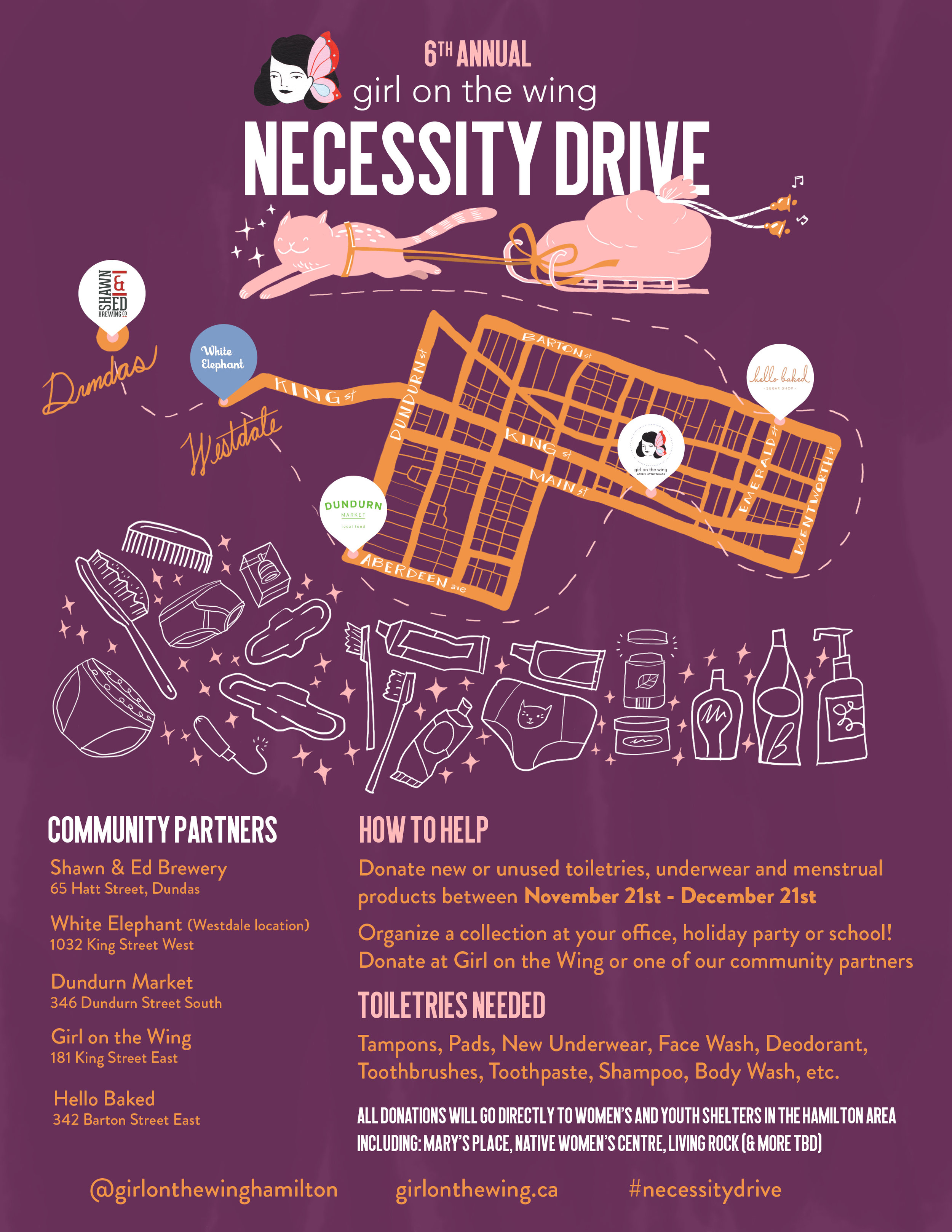 Poster for Necessity Drive, an annual charity initiative organized by Hamilton boutique Girl on the Wing.
