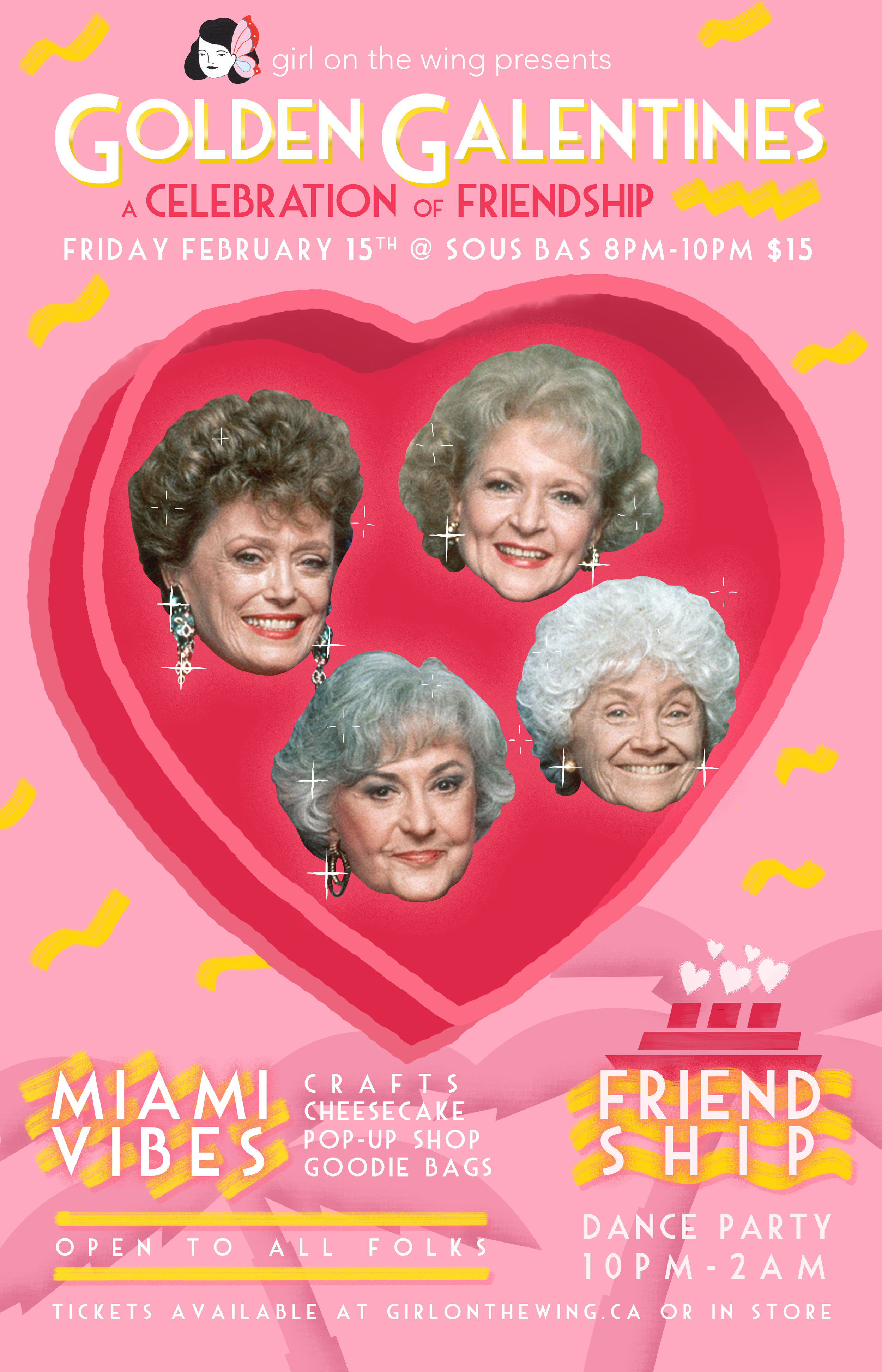 Poster for Golden Galentines party, a community gathering alternative to the typical Valentine's day event.