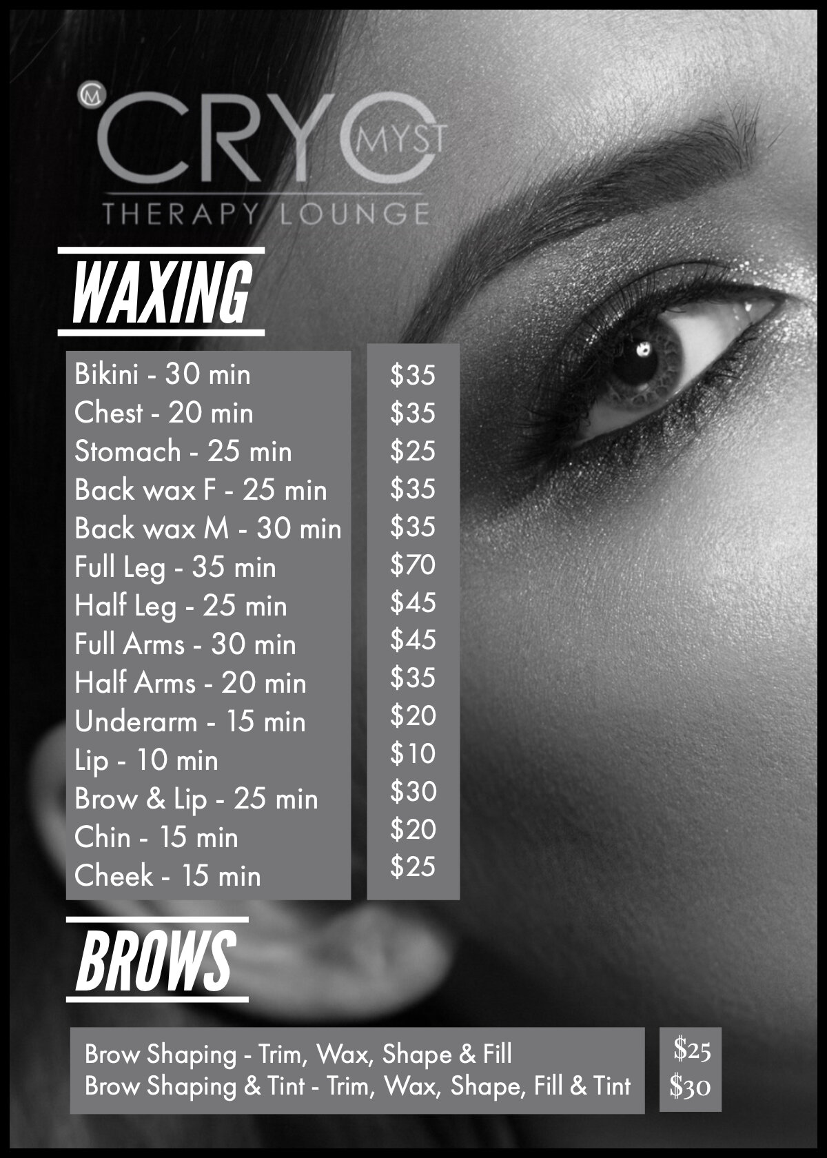 Price List - Call (484) 380 2083 to check availability