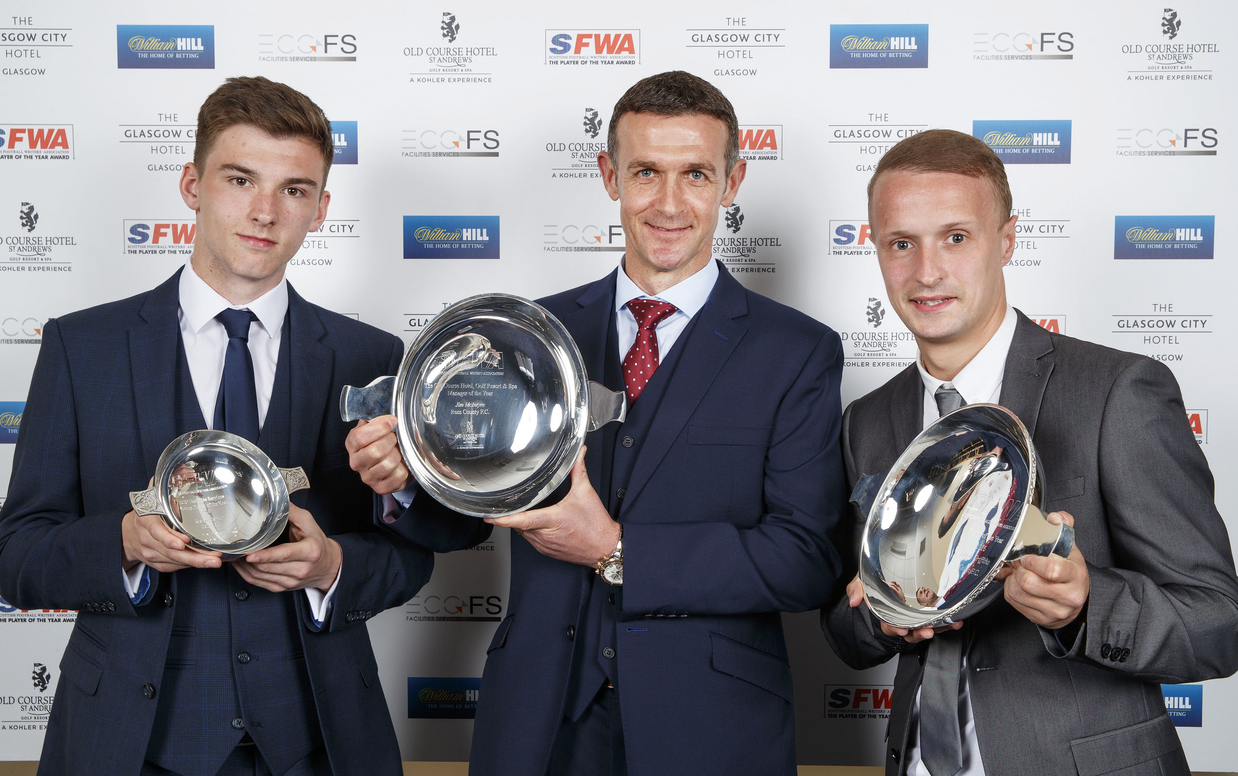 Celtic duo Keiran Tierney and Leigh Griffiths along with Ross County manager Jim McIntyre were the big winners at the 2016 SFWA Awards dinner