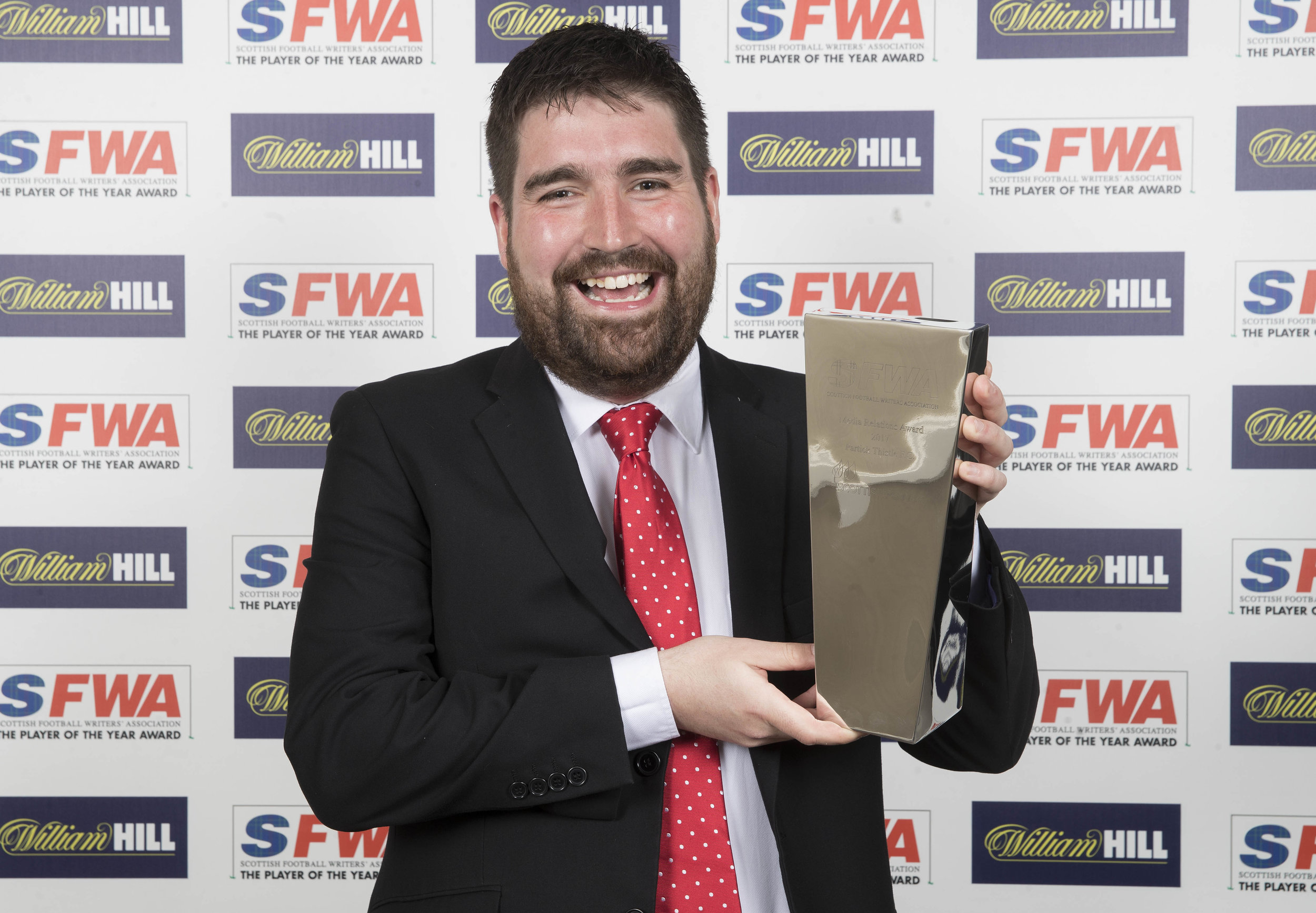 Partick Thistle's head of communications George Francis won widest smile of the night