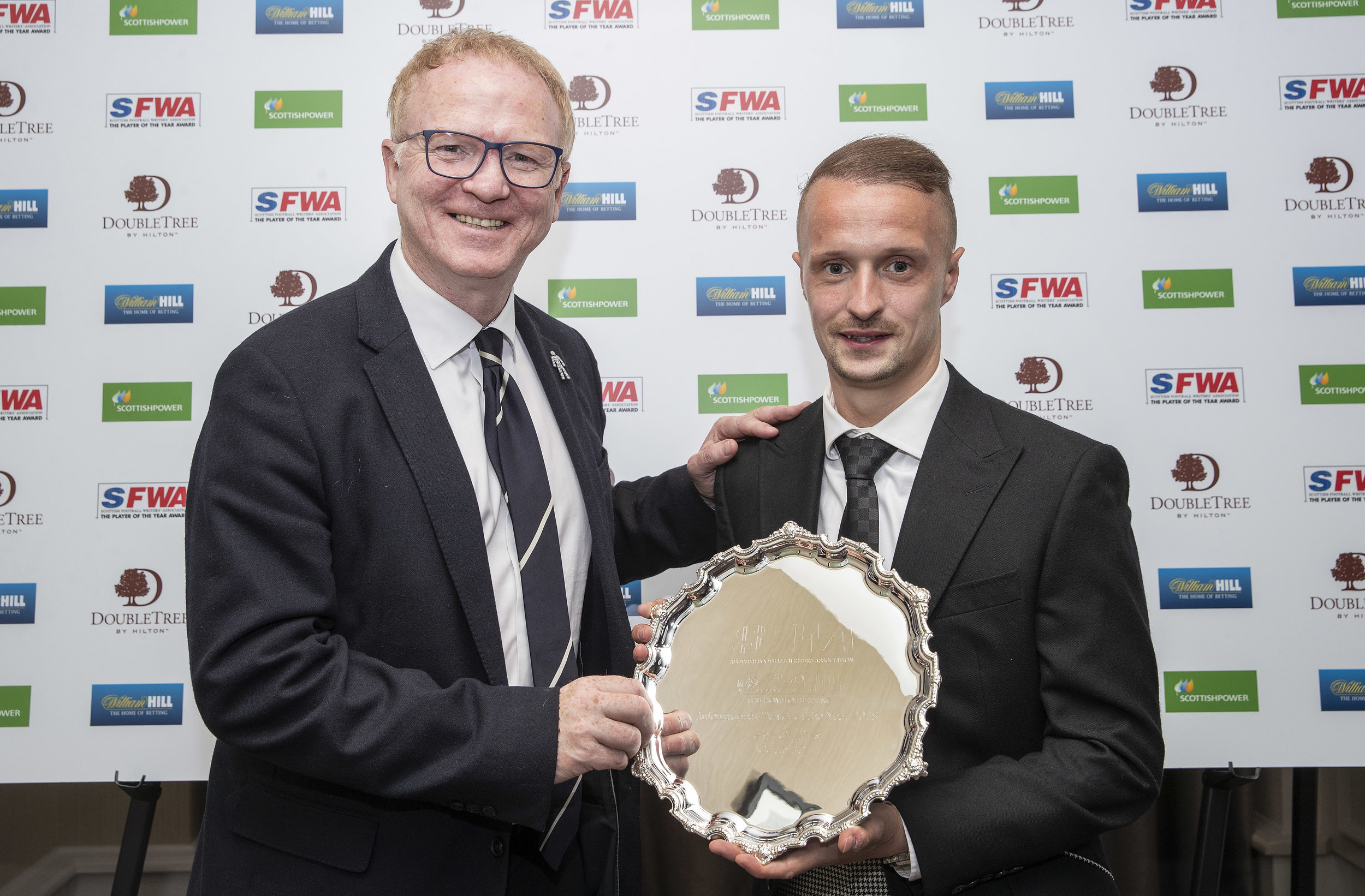 Scotland manager Alex McLeish presents Leigh Griffiths with the 2018 International Player of the Year award