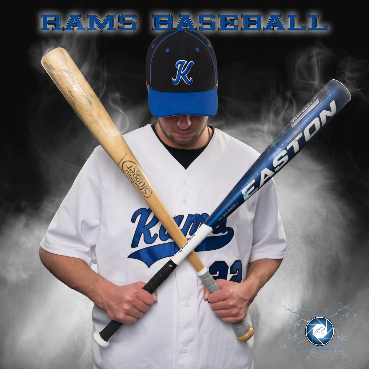 High School Senior Picture in the studio and then composited with fog and smoke. Sports Pictures to the next level.