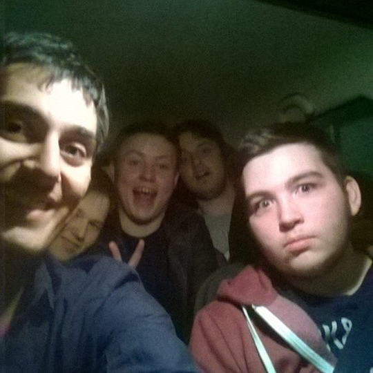 Me (left) and friends on a late-night drive at my send-off party.