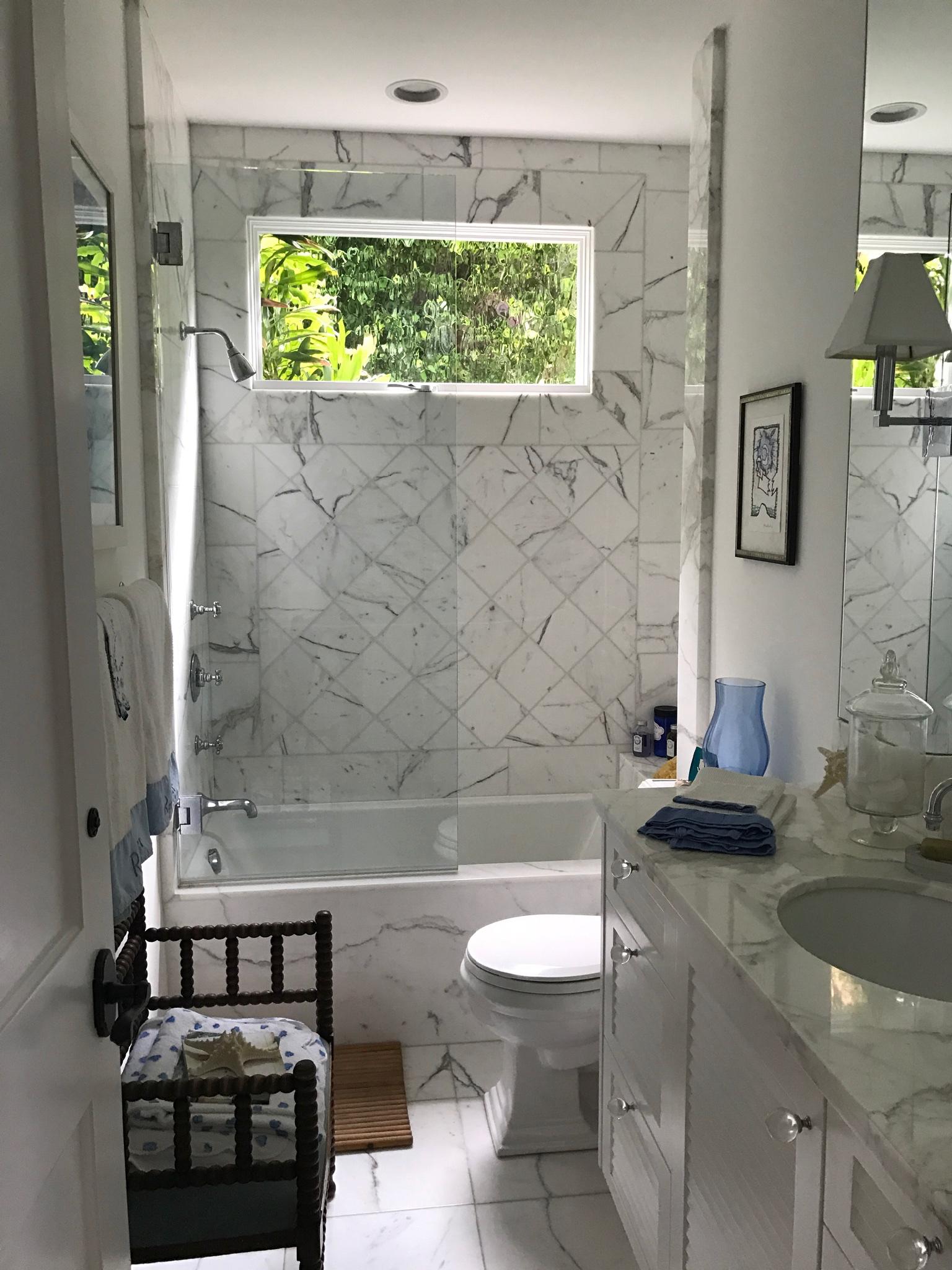 Guest bathroom design in Laguna Beach California home.