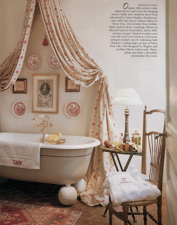 Ginny Magher Mas de Baraquet Bathroom Design with clawfoot tub
