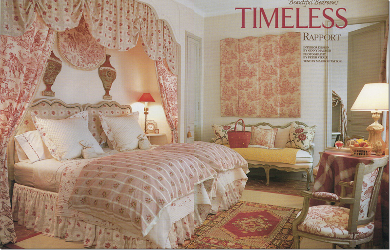 French bedroom with pink and red canopy and bed spread in Veranda Magazine.