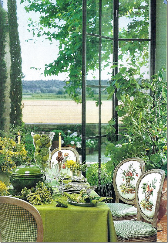 Ginny Magher designed dining room in Veranda Magazine spread on Mas de Baraquet.