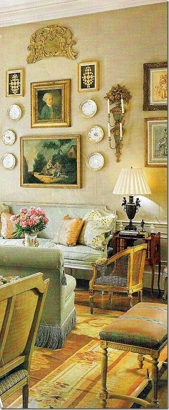 French gallery wall in Parisian style home.