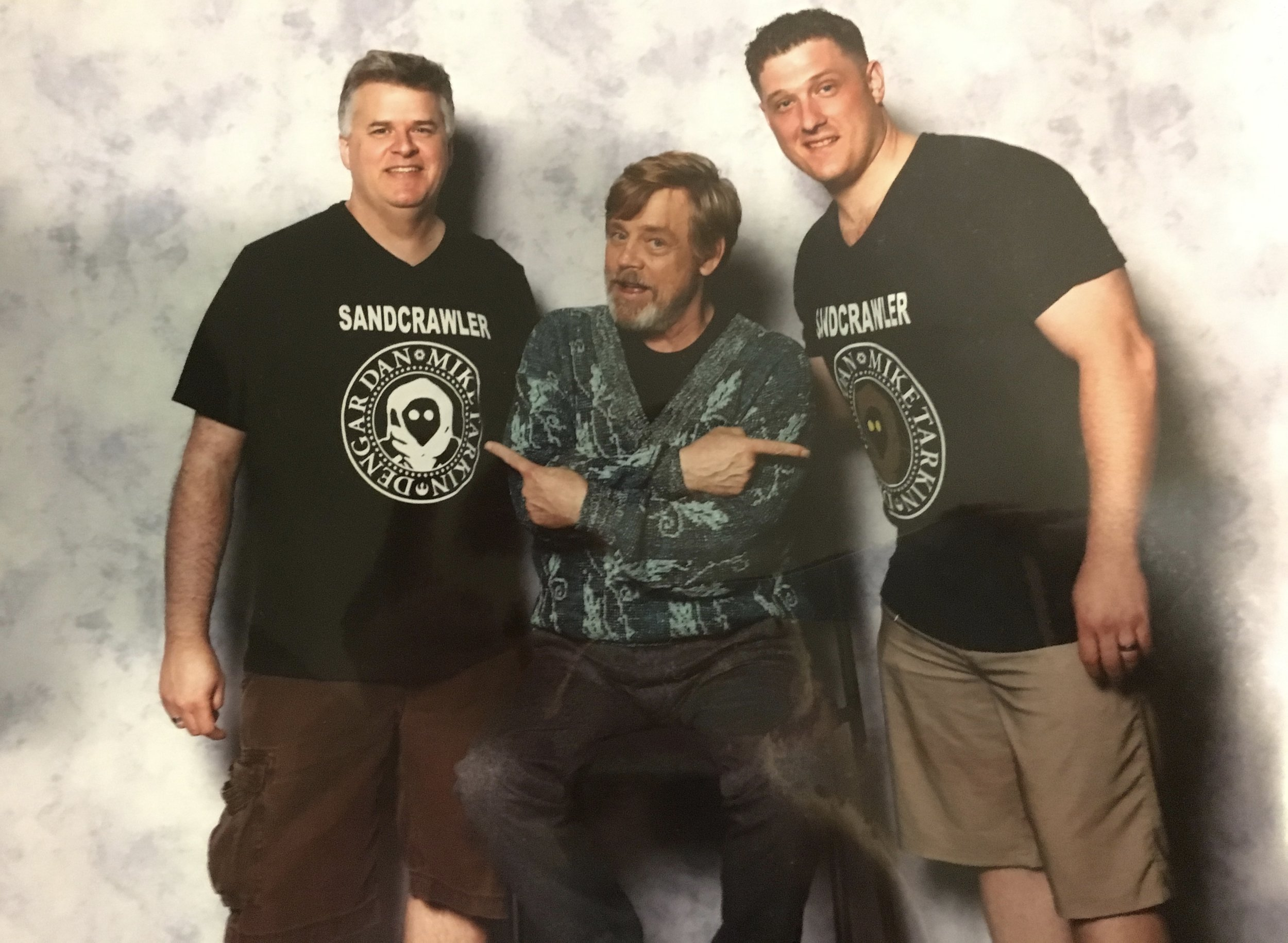 Mac and Dan meet Luke Skywalker himself, Mark Hamill at Star Wars Celebration Orlando 2017. He is clearly impressed with our show t-shirts.