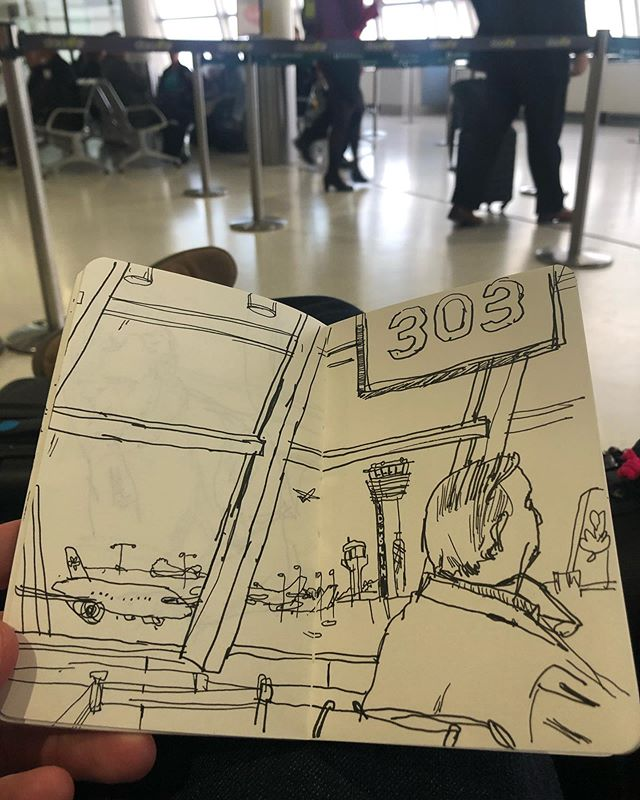 "A tiny ""What time is it even"" drawing from the airport in Dublin"