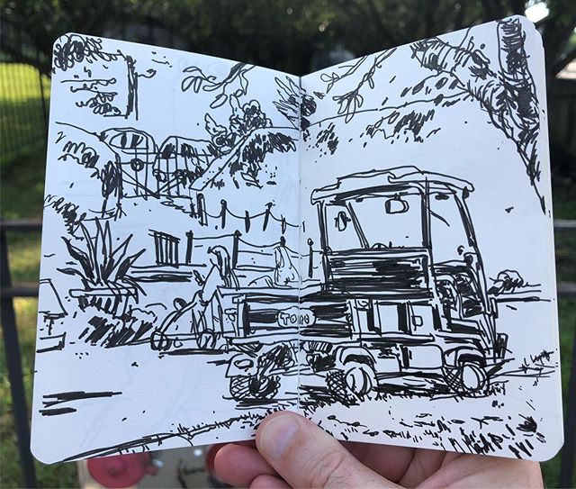 I managed to squeeze out three quick drawings during  a long (but fun) week with a really great group of students from @disenoduocuc. A cart from @brooklynbotanic , an @nypd smart car, y los dos Pablos at @bethesdafountain