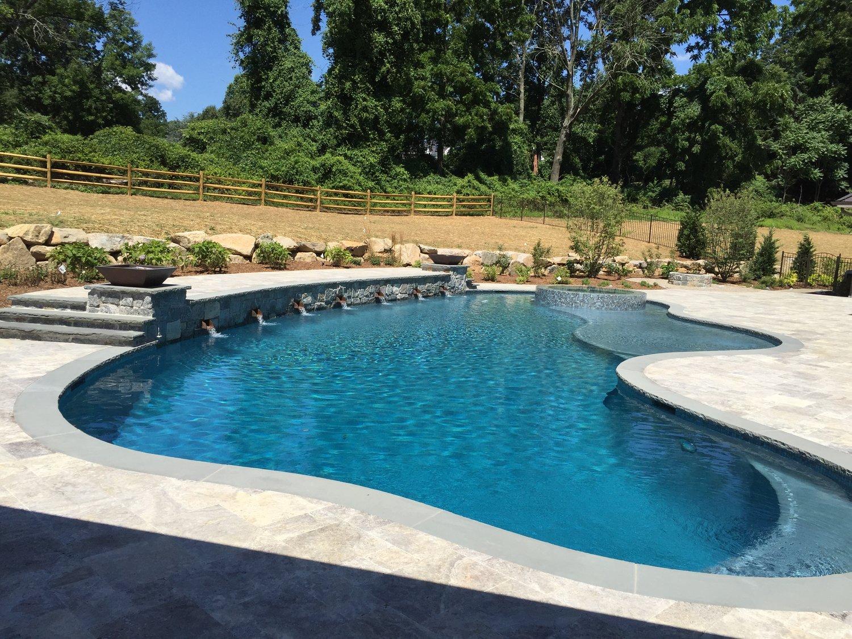 1100 sf free form pool - bbq island & serving bar - bluestone coping - 275 sf sun shelf - deep end love seat - swim jets
