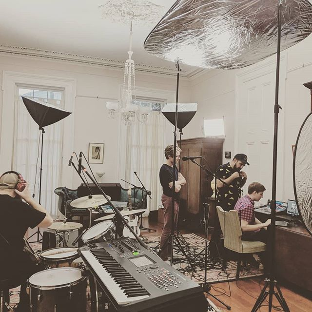 Getting everything set for our live stream tonight for @scenesmedia. Should be fun. Special thanks to our keyboard player @josephseabornryan for letting us borrow his camera and lights!  See y'all tonight at 8pm.  #indiemusic #indierock #nolamusicians