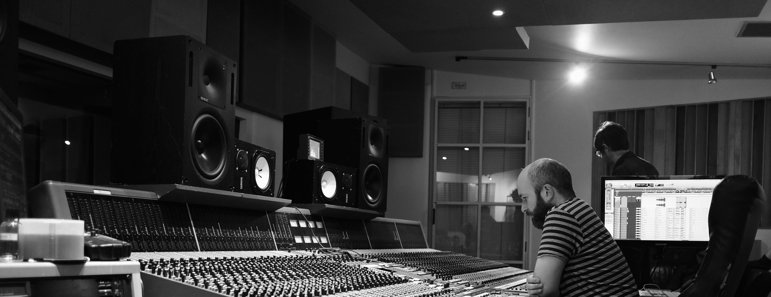 Listening to a mix in RAK studios, London.