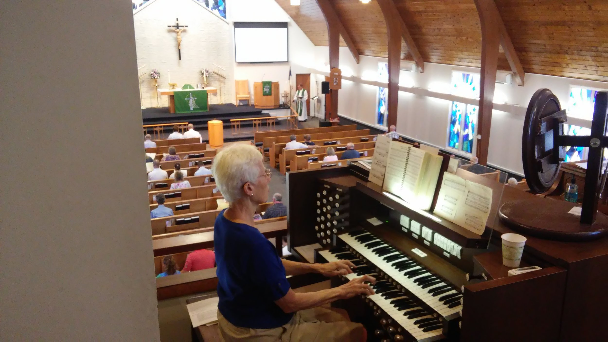 We sing hymns with the organ.  -