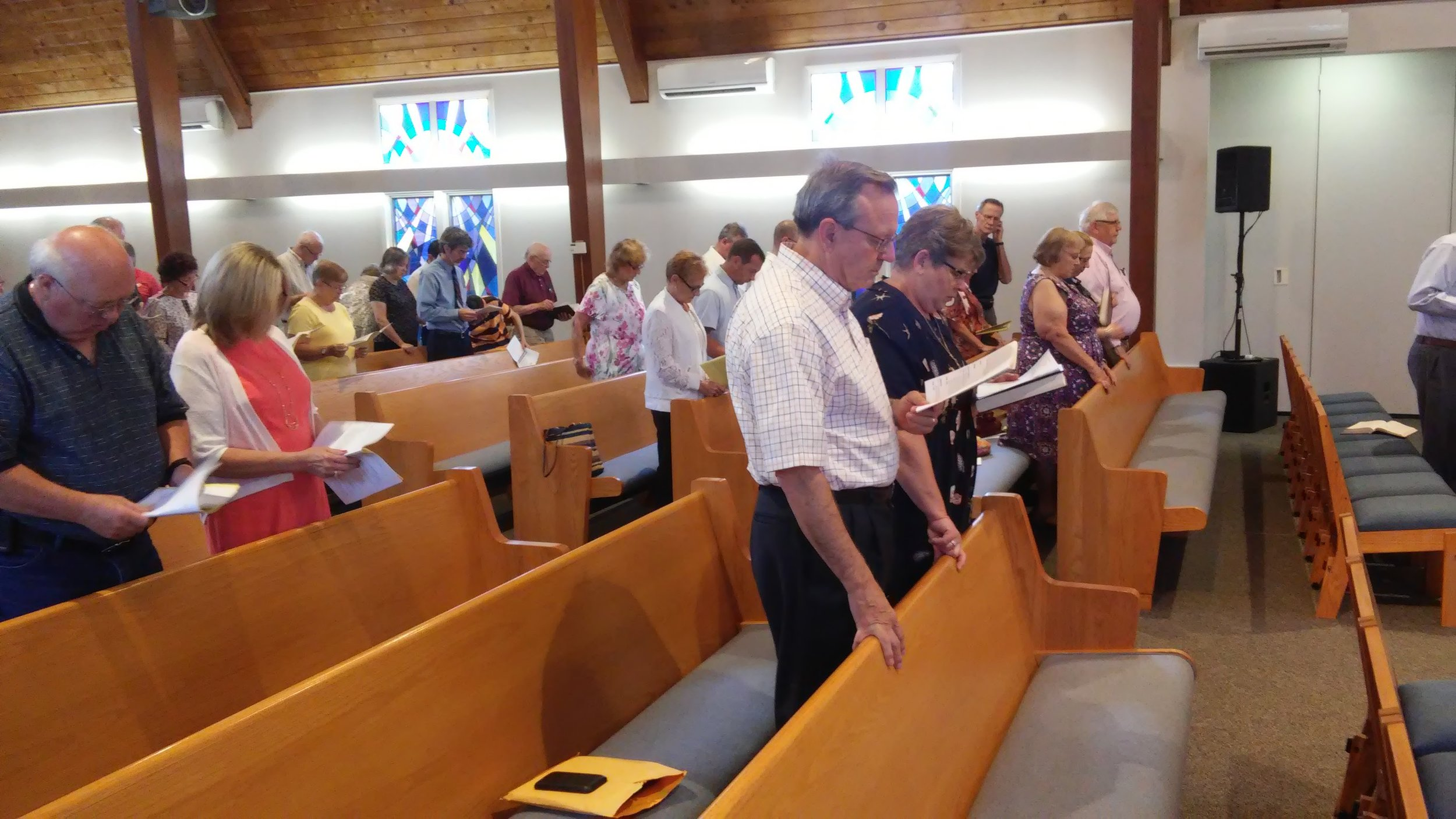 We have a choir. - We are quite proud of our choir and they frequently bless us in worship. Normally the early service includes some sort of special music, a solo or duet, while our late service features our choir.