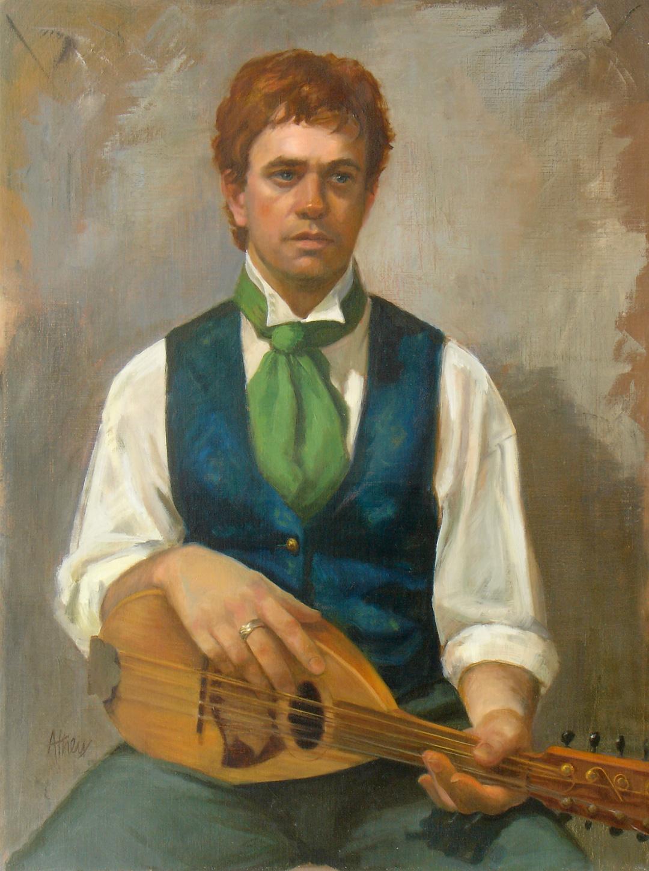 """Man with Mandolin"" 2003, 24x19"", Oil on Linen"