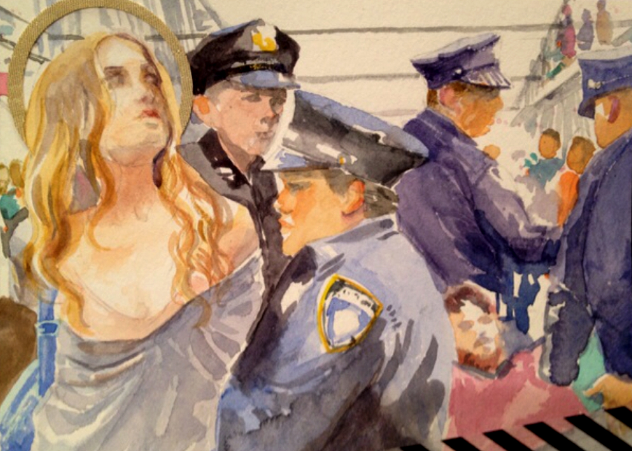 """""""Our Lady of the Occupation"""" 2012, 6x4"""", Watercolor"""