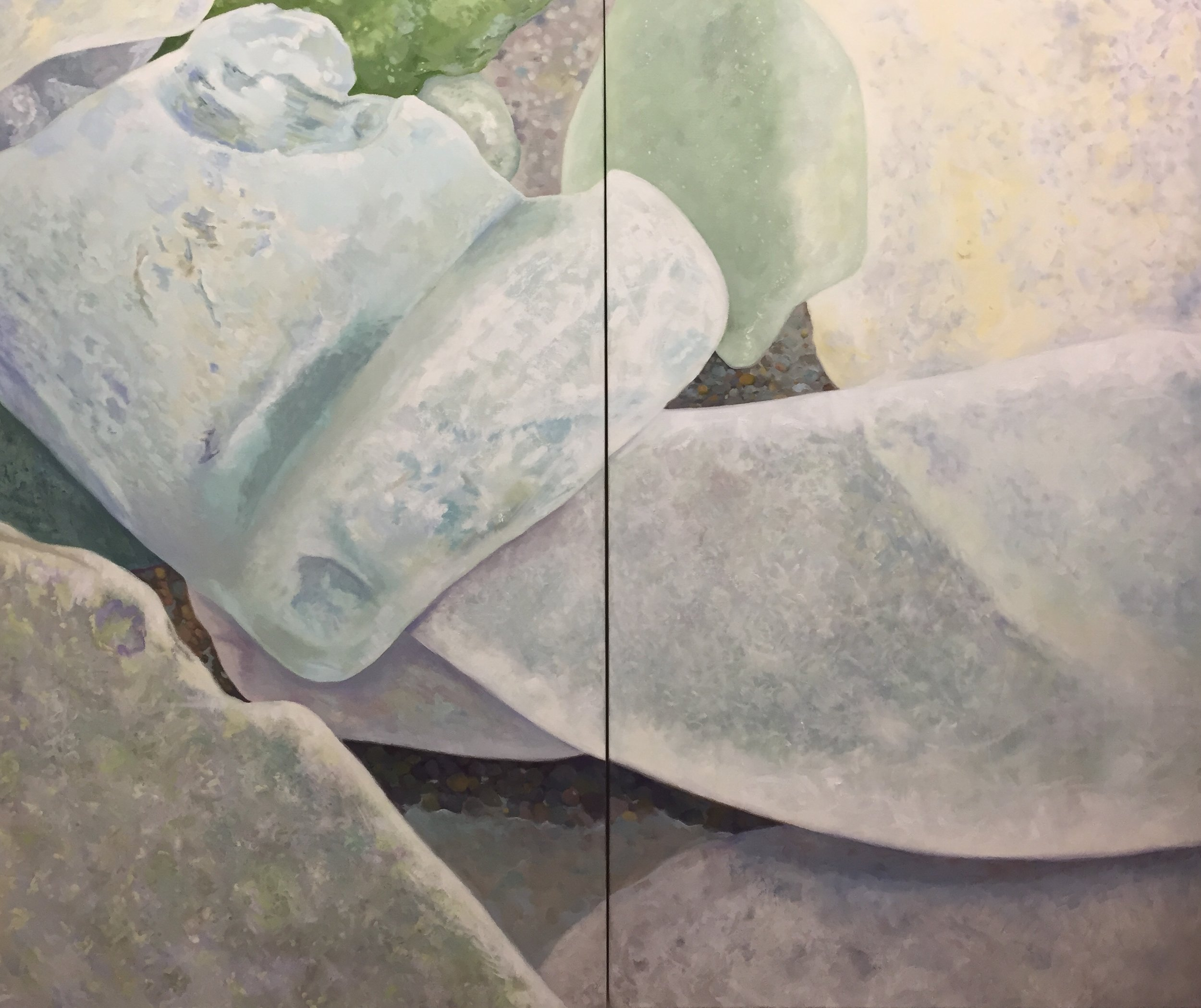 "Seaglass No. 7, 2-panel, 2014, 60x72"", Oil"