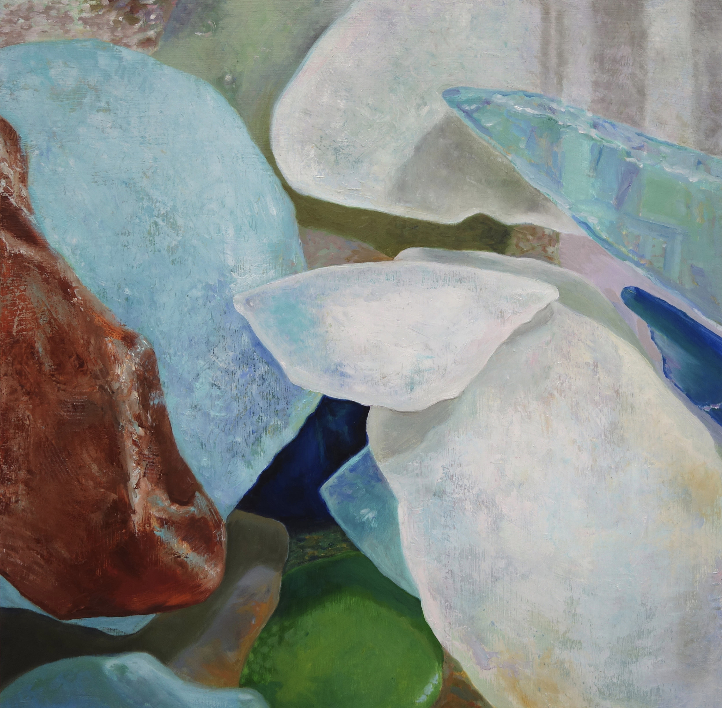 "Seaglass No. 10, 2013, 16x16"", Oil on Wood"