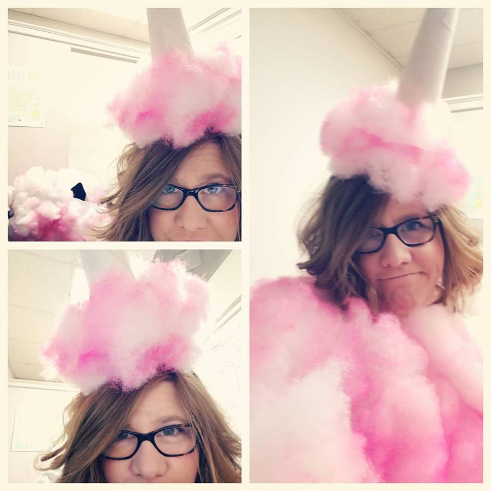 Ellen Fultz after getting caught in the Cotton Candy machine. I stole both pictures off of Facebook.