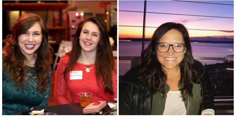 (On the Left: Kelsey and Michaela being awarded Dual Nobel Peace Prizes! On the Right: Allison in front of the setting sun of an alien world: [location unknown]!)