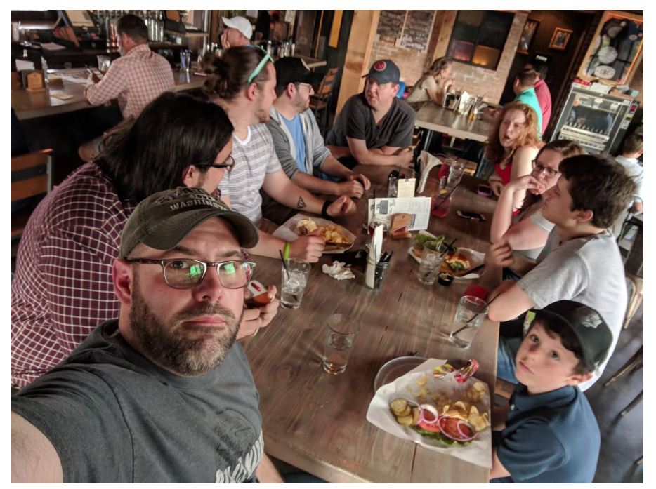 Now that's a whole mess of people enjoying some good times and good food! Note 11 year old guest Collin and the disappeared burger.