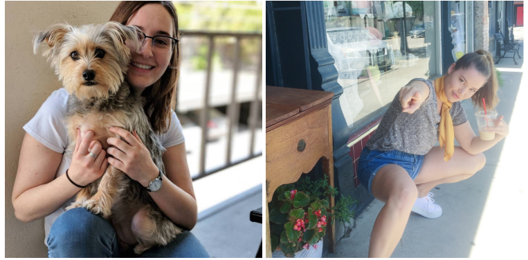 On the Left: Whose dog is this? Is it Kaitlin's? On the Right: Brittany hearing a sick burn.