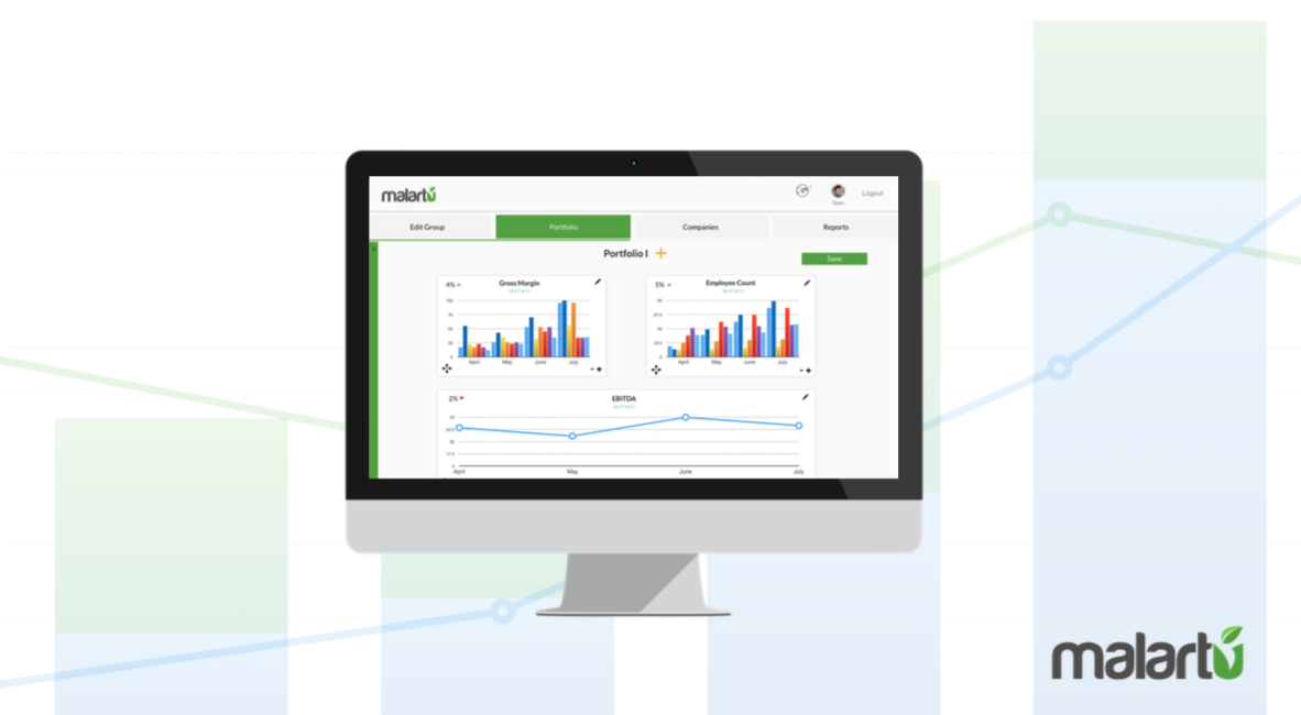 A dashboard displaying aggregated data across a handful of companies.