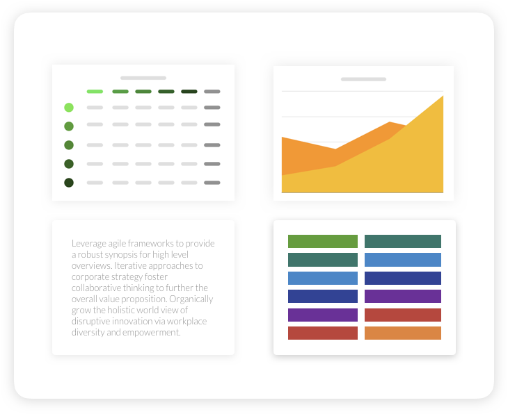 Explore block types - Organize data like a spreadsheet, visualize trends with a chart, add a narrative with text boxes, manage strategic goals with drop-downs. Blocks give your team the flexibility you demand.
