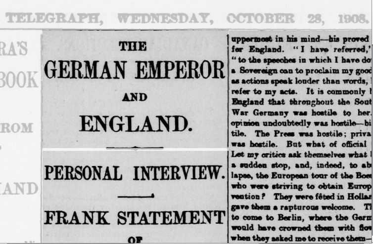 If you Will helm your own demise... The Kaiser's disastrous Telegrpah interview sank what little remained of his international standing.