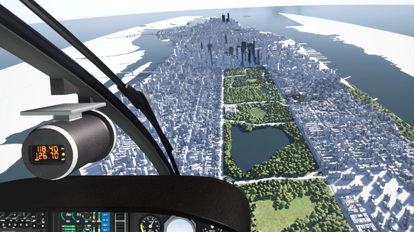 A player flies over Central Park in Heli