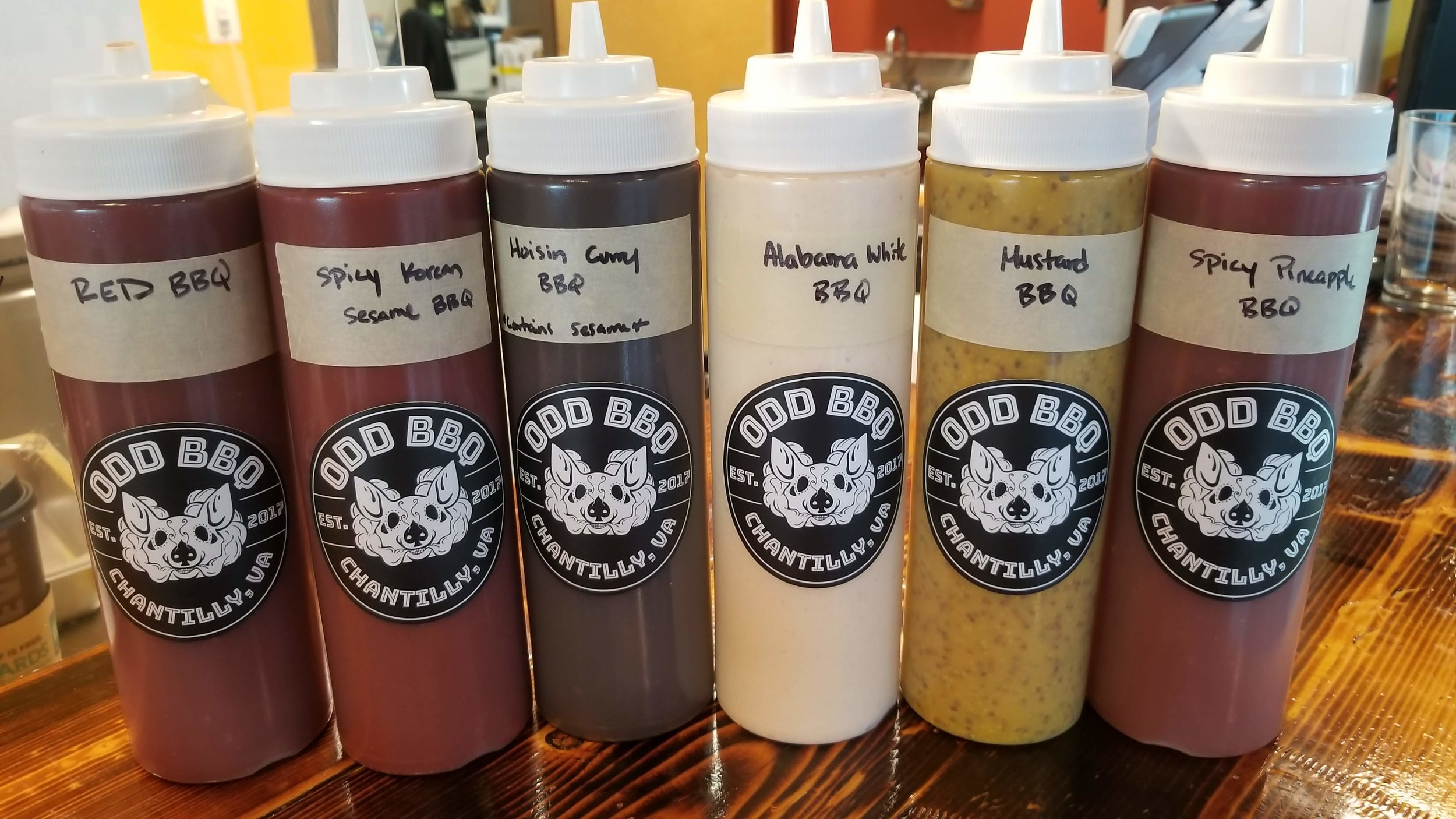 About our sauces… - We make all of our sauces in-house here is our current offeringsALABAMA WHITE BBQ (Not Spicy)mayo based, less sweet & more tangyRED BBQ (Not Spicy)classic ketchup based, sweet, rich, & tangyMUSTARD BBQ (Not Spicy)whole grain & yellow mustard, tangy & sweetVINEGAR BBQ (Mild Spice)carolina style, chili flakes & molasses, very tangyHOISIN CURRY (Not Spicy)sweet, savory, soy, light currySPICY KOREAN SESAMEkorean pepper paste, brown sugar, sesame oil,SPICY PINEAPPLEsweet & spicy, habaneros & soy sauceSMOKERS ON FIRE!arbol chili hot sauce, vinegary