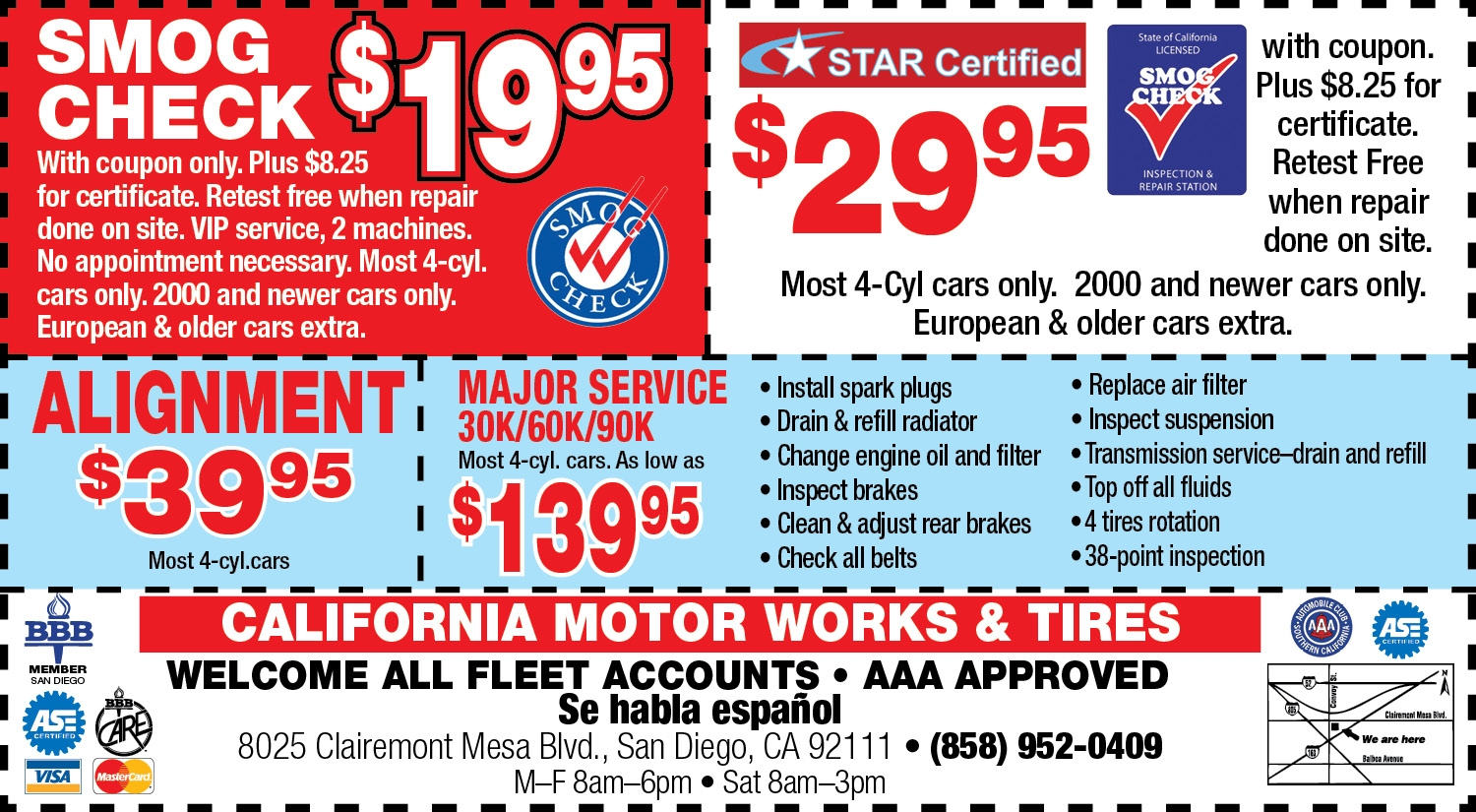 auto repair specials from california motor works & tires