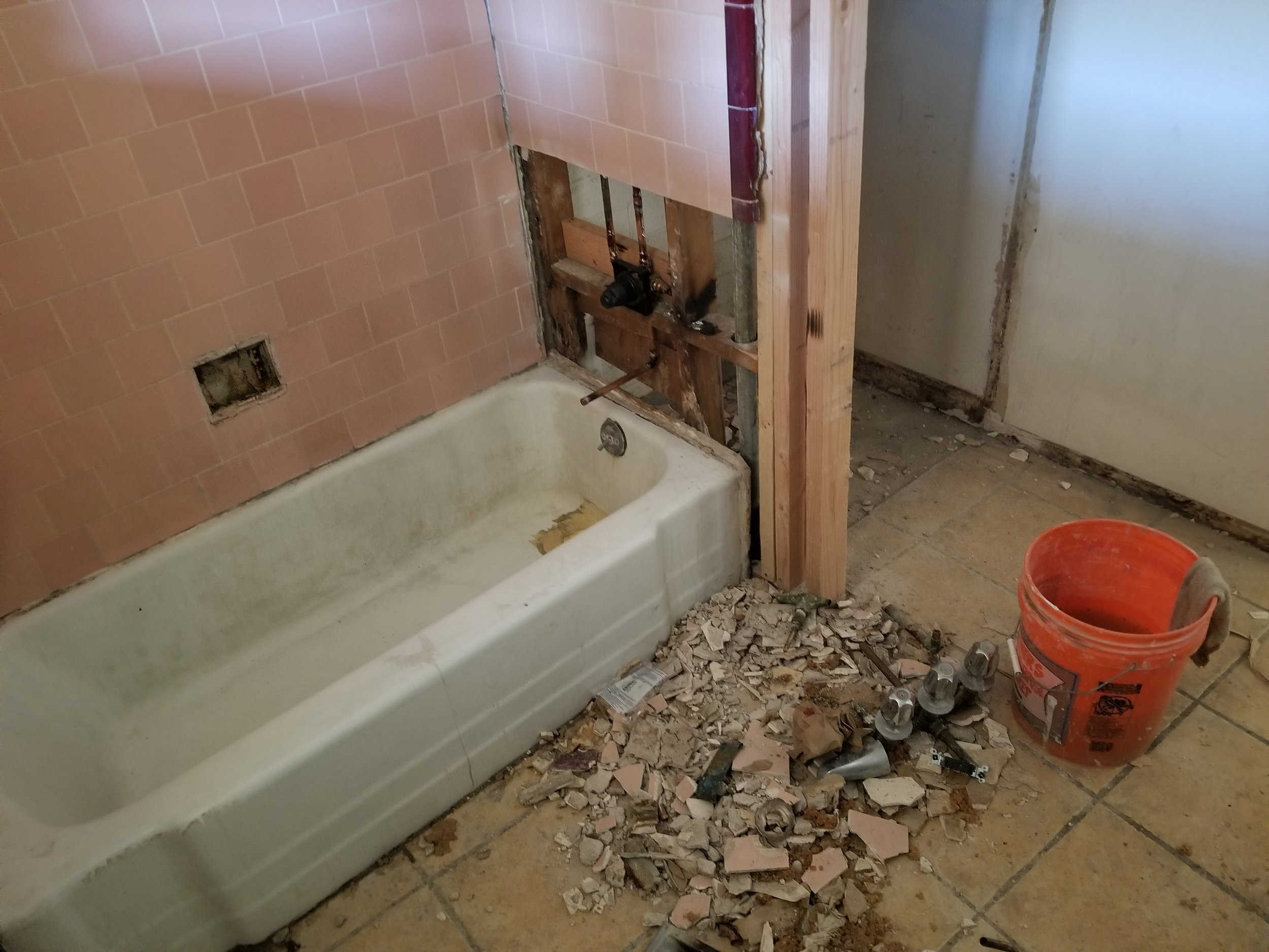 replacing the bath plumbing
