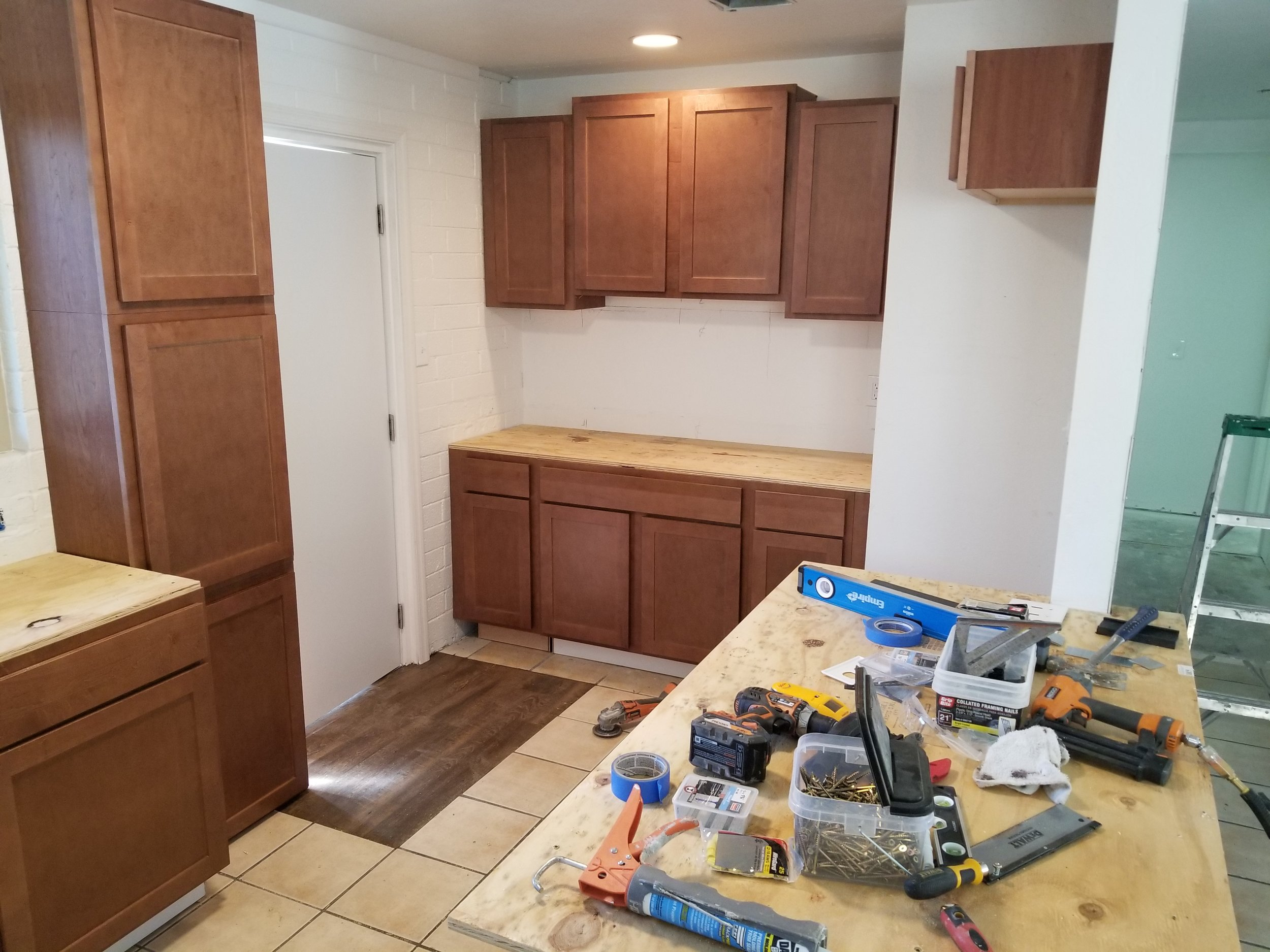 Cabinets installed