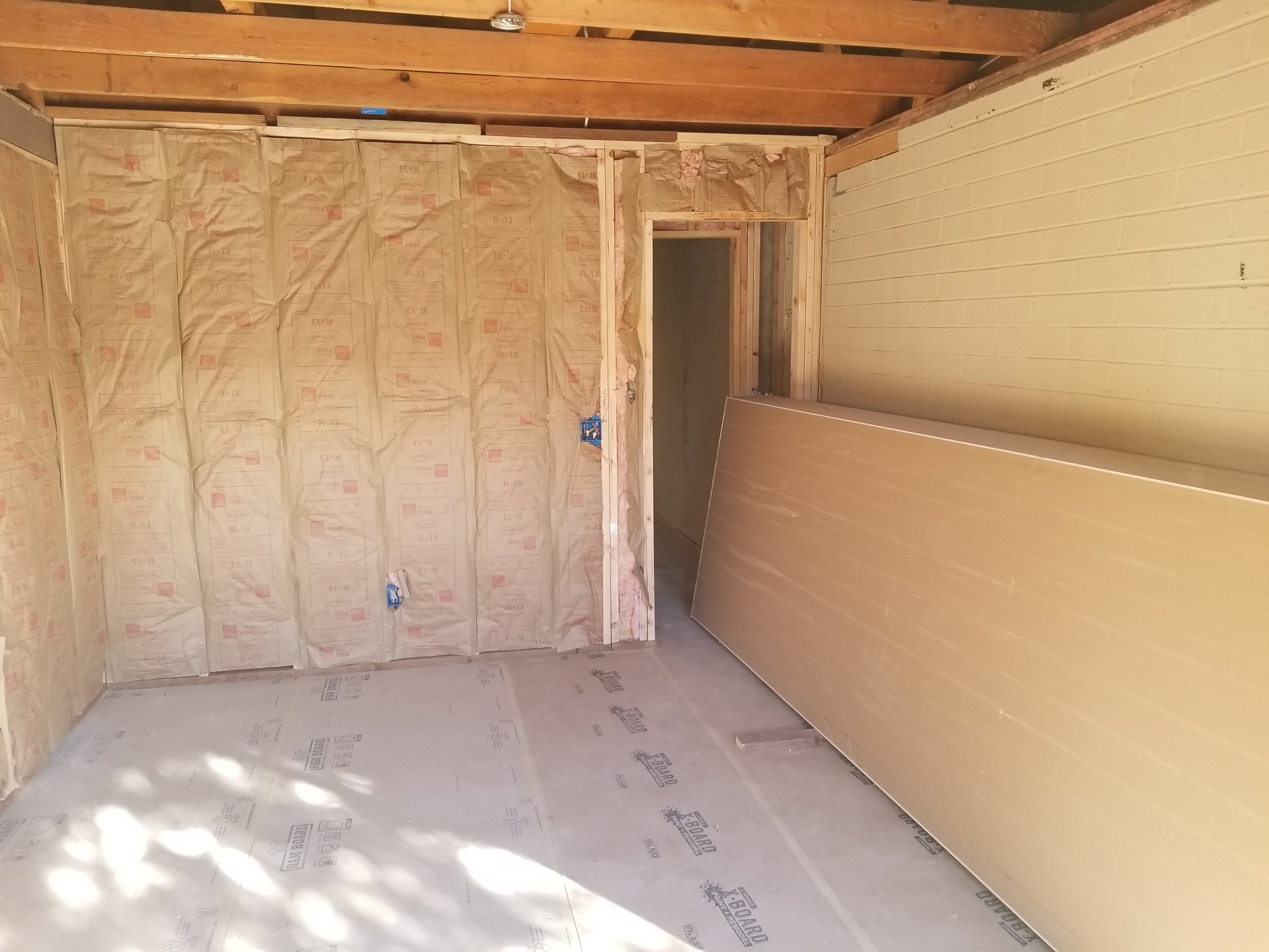 Framing complete, insulation installed, ready for sheetrock