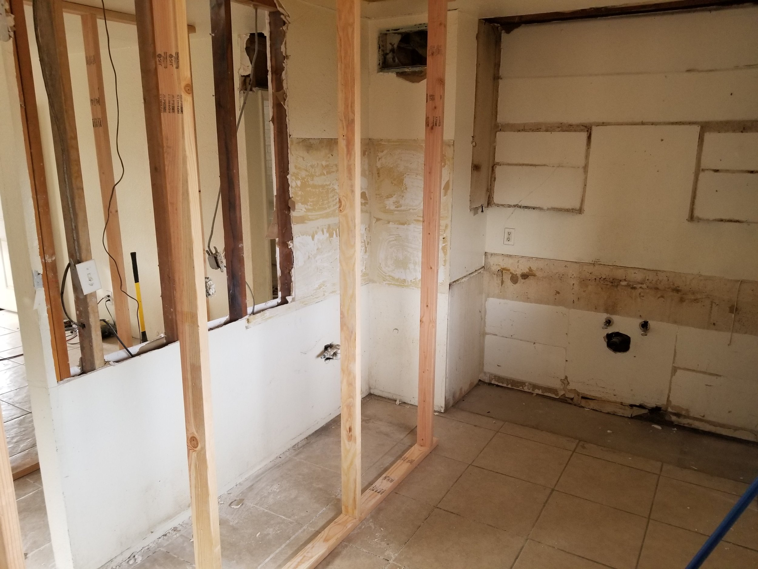 temp walls for beam in kitchen