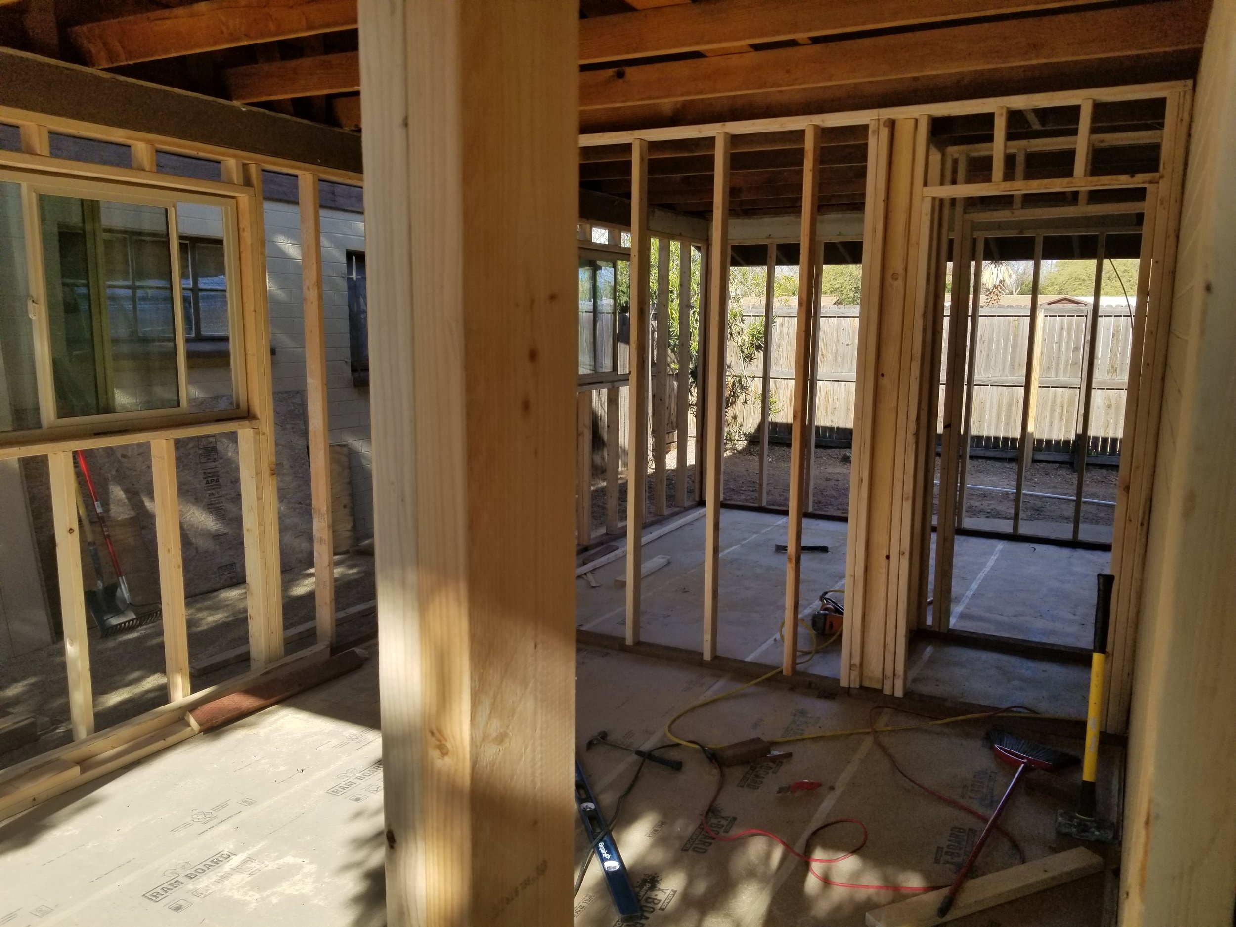 Framing for new bedrooms 2 & 3