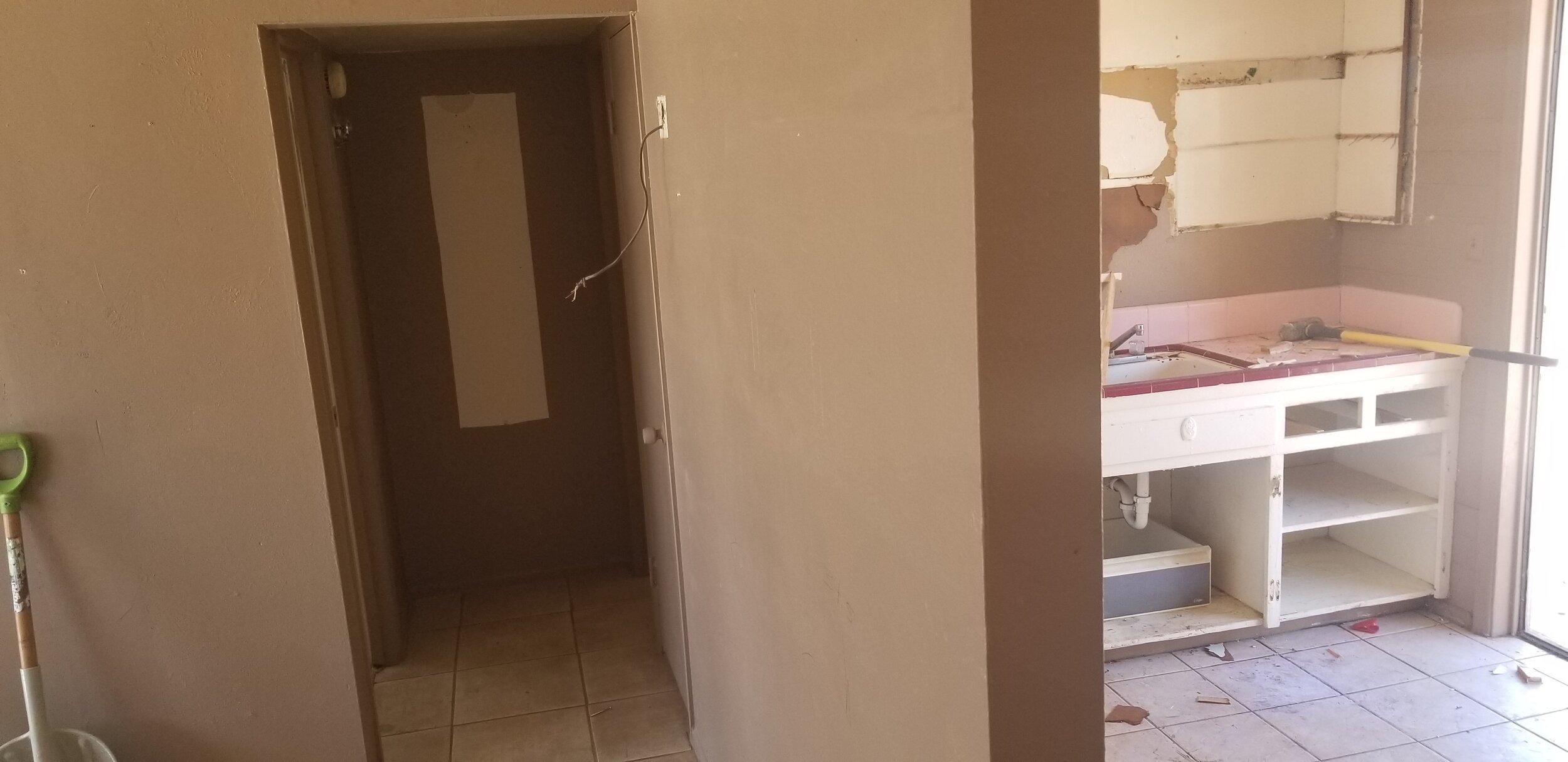Original kitchen and hallway to new bedrooms
