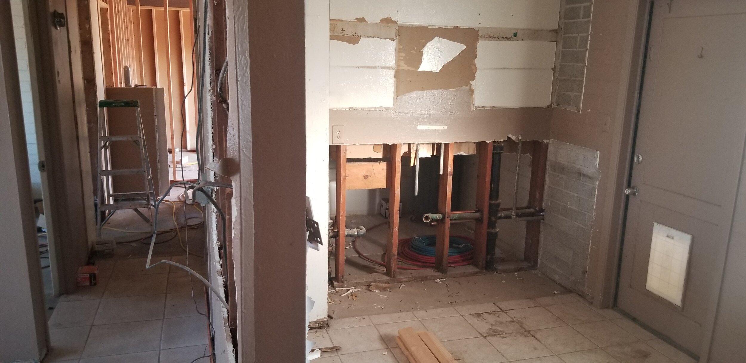 Kitchen & hall demo complete